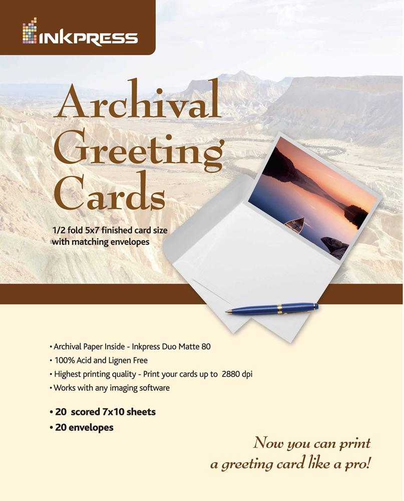 Inkpress 7x10 archival greeting cards 20 sheets m4hsunfo