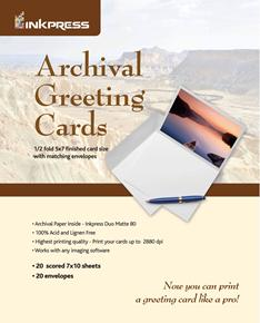 "Inkpress 7""x10"" Archival Greeting Cards 20 Sheets"